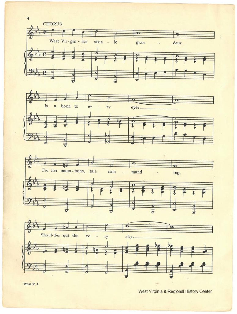 Third page of music in sheet music booklet for song West Virginia