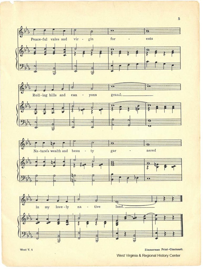 Fourth page of music in sheet music booklet for song West Virginia
