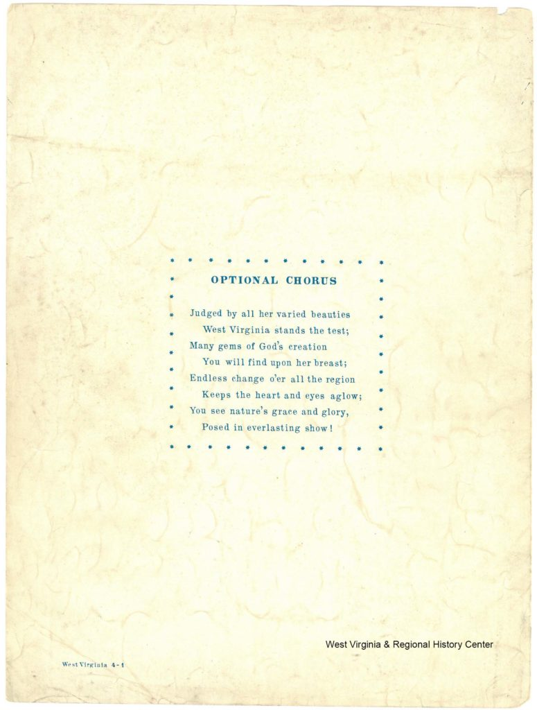 Back page of sheet music booklet for song West Virginia