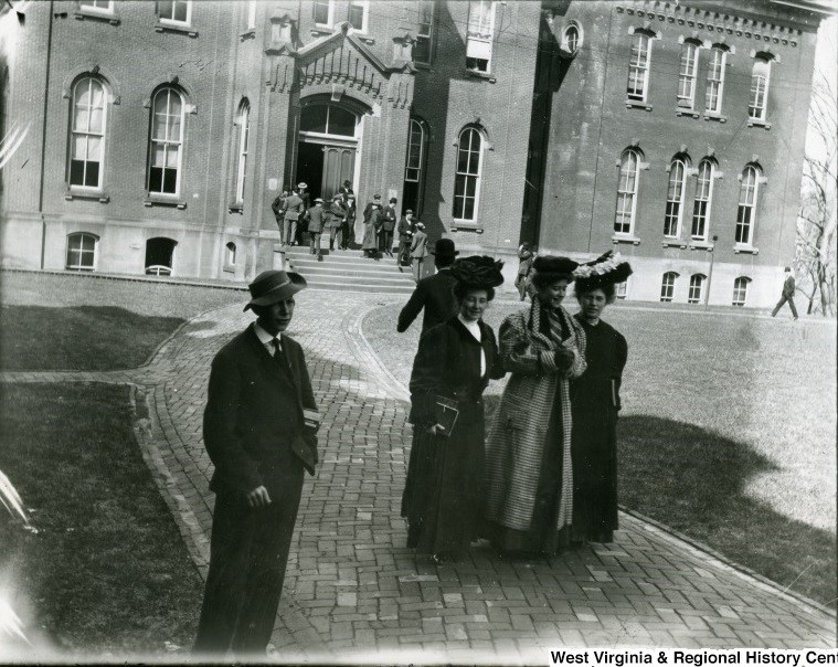 Female students in front of WVU's Woodburn Hall
