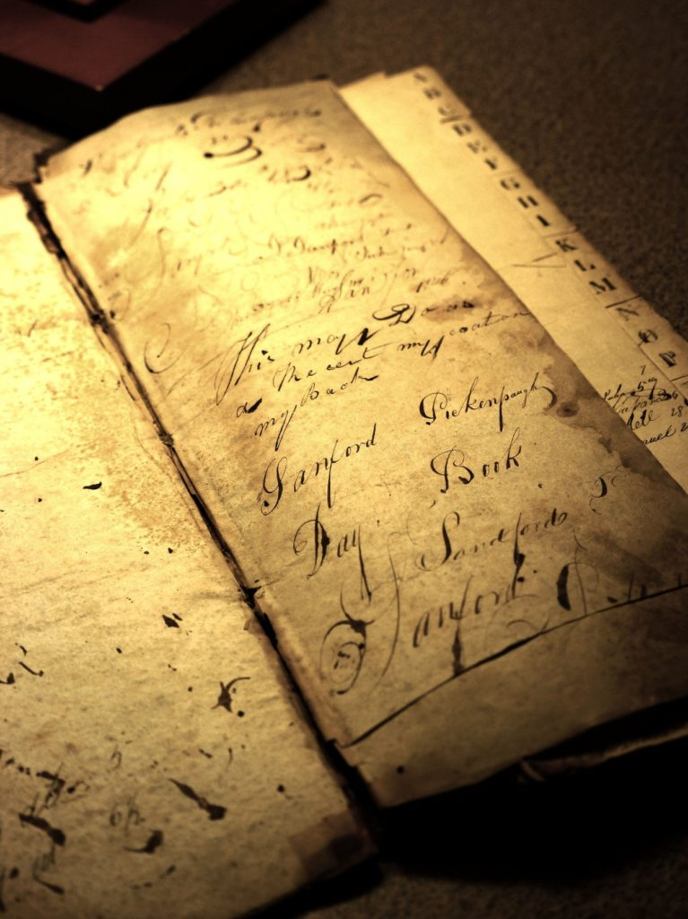 Inside front cover of the 1838 Sanford Pickenpaugh daybook, shows his name and additional script