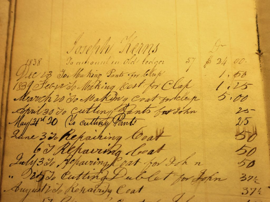 Day book entries for Joseph Kerns, showing date of purchase, item, and price