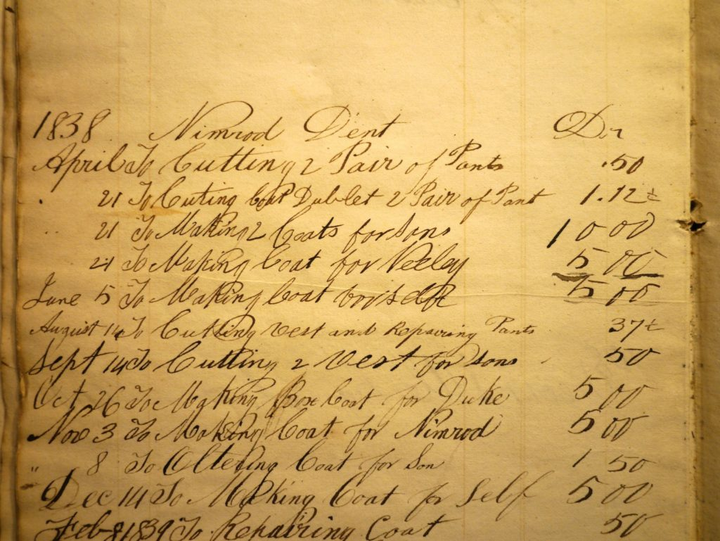 Day book entries for Nimrod Dent, showing date of purchase, item (mostly clothing), and price