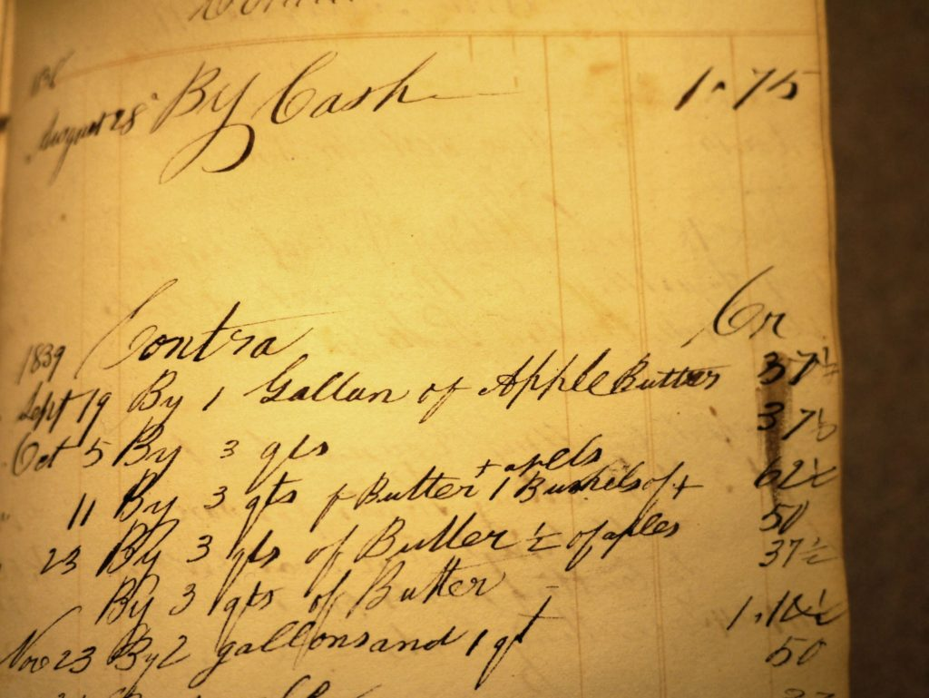 Record of payment with apple butter by Mrs. Owen Harker for a coat for her son