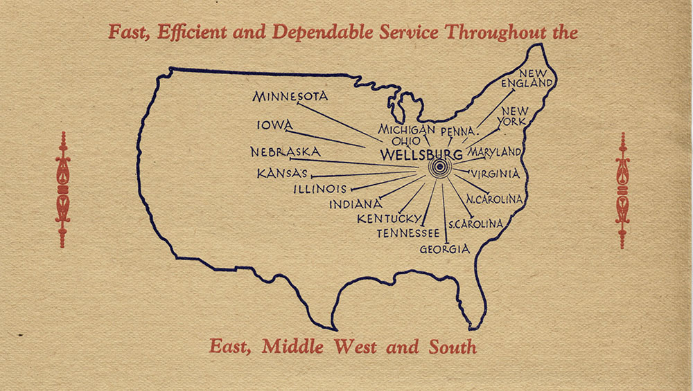 Map showing locations to which the S George Company distributed
