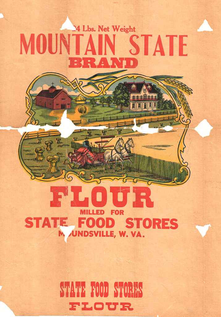 Flour sack proof for Mountain State Brand Flour, showing farm buildings and agricultural equipment