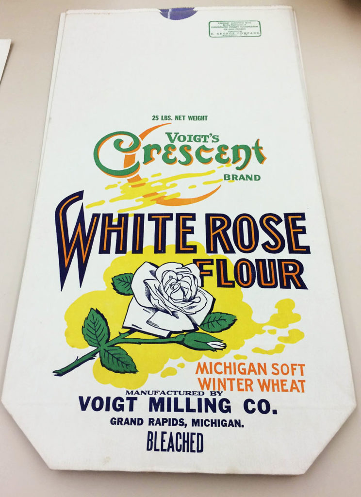 Paper flour sack for White Rose Flour of Voigt Milling Company of Grand Rapids, Michigan