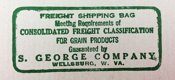 S. George Company stamp showing the bag meets freight shipping requirements