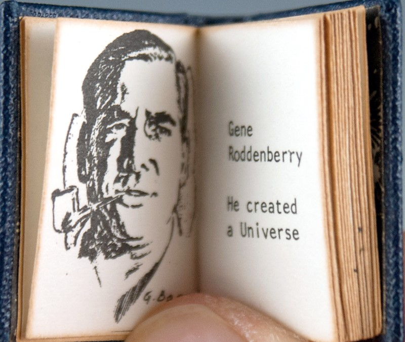 Book pages showing sketch of Gene Roddenberry