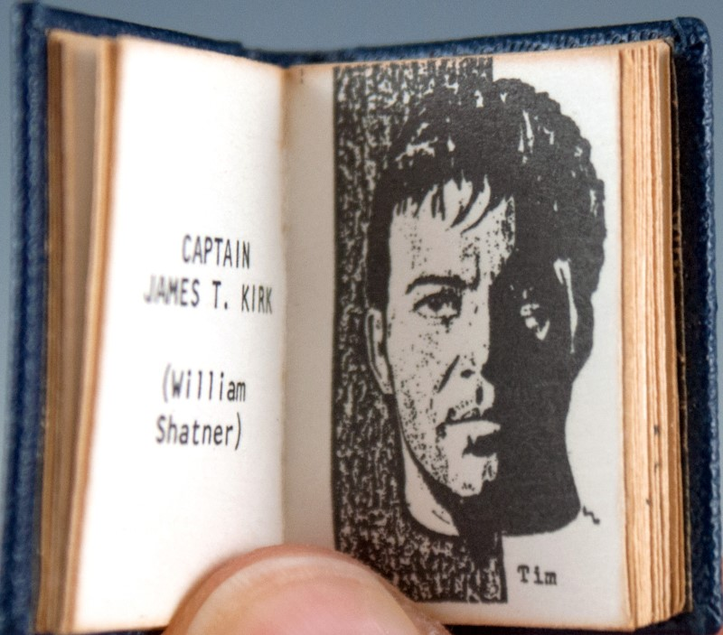 Book pages showing sketch of William Shatner as Captain Kirk