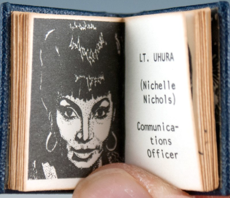 Book pages showing sketch of Nichelle Nickols as Lt. Uhura