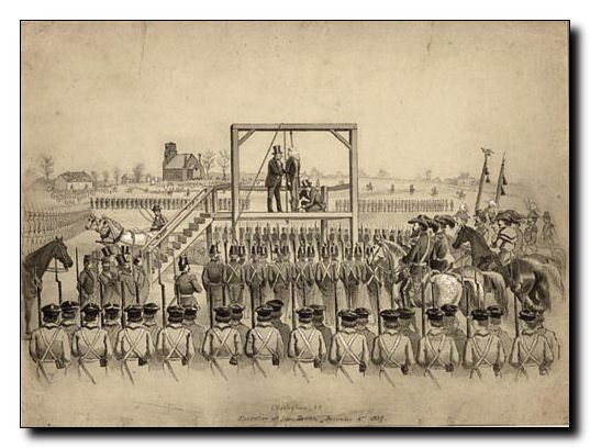 On the eve of the Civil War David Hunter Strother was possibly the best known graphic artist in America. This drawing depicts the execution of John Brown on December 2, 1859, Charleston, (West) Virginia. https://images.lib.wvu.edu/s/strother/