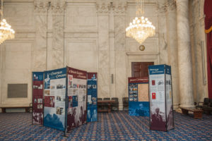 The Byrd Traveling Exhibit on display in the Kennedy Caucus Room of the U.S. Senate, photo provided by the Byrd Center.