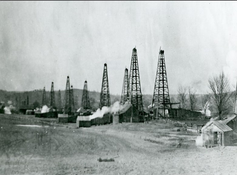 wooden oil derricks