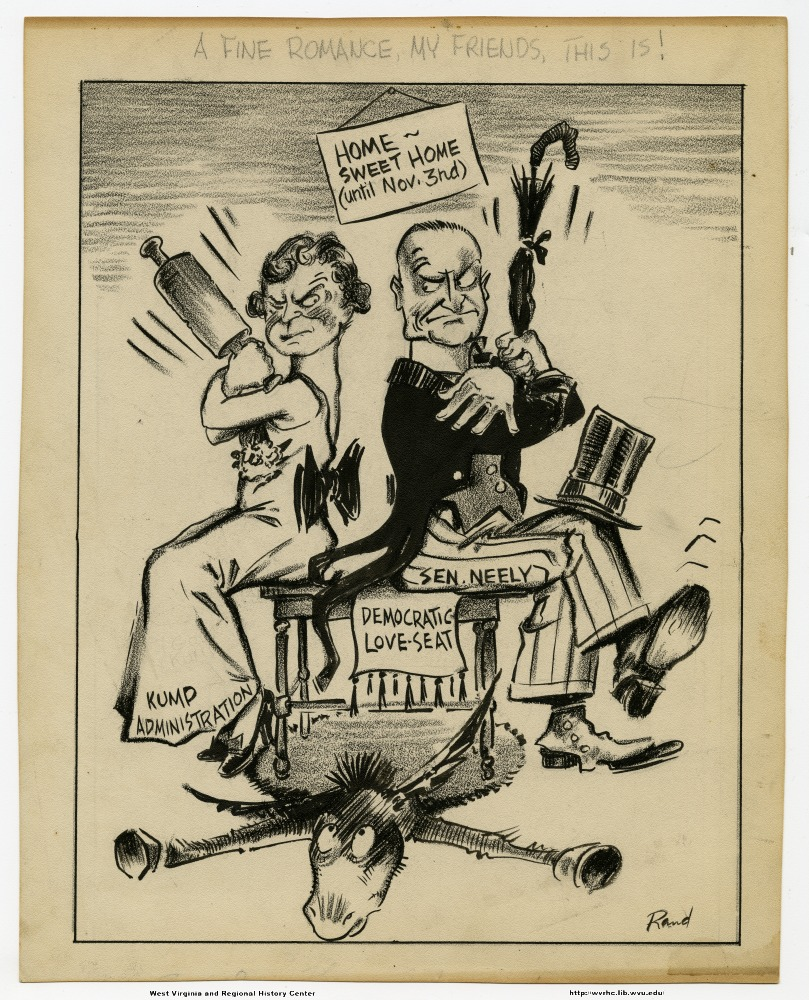 "Political Cartoon showing Kump Administration and Senator Neely sitting on the ""Democratic Love-Seat"" back to back, glaring at each other."