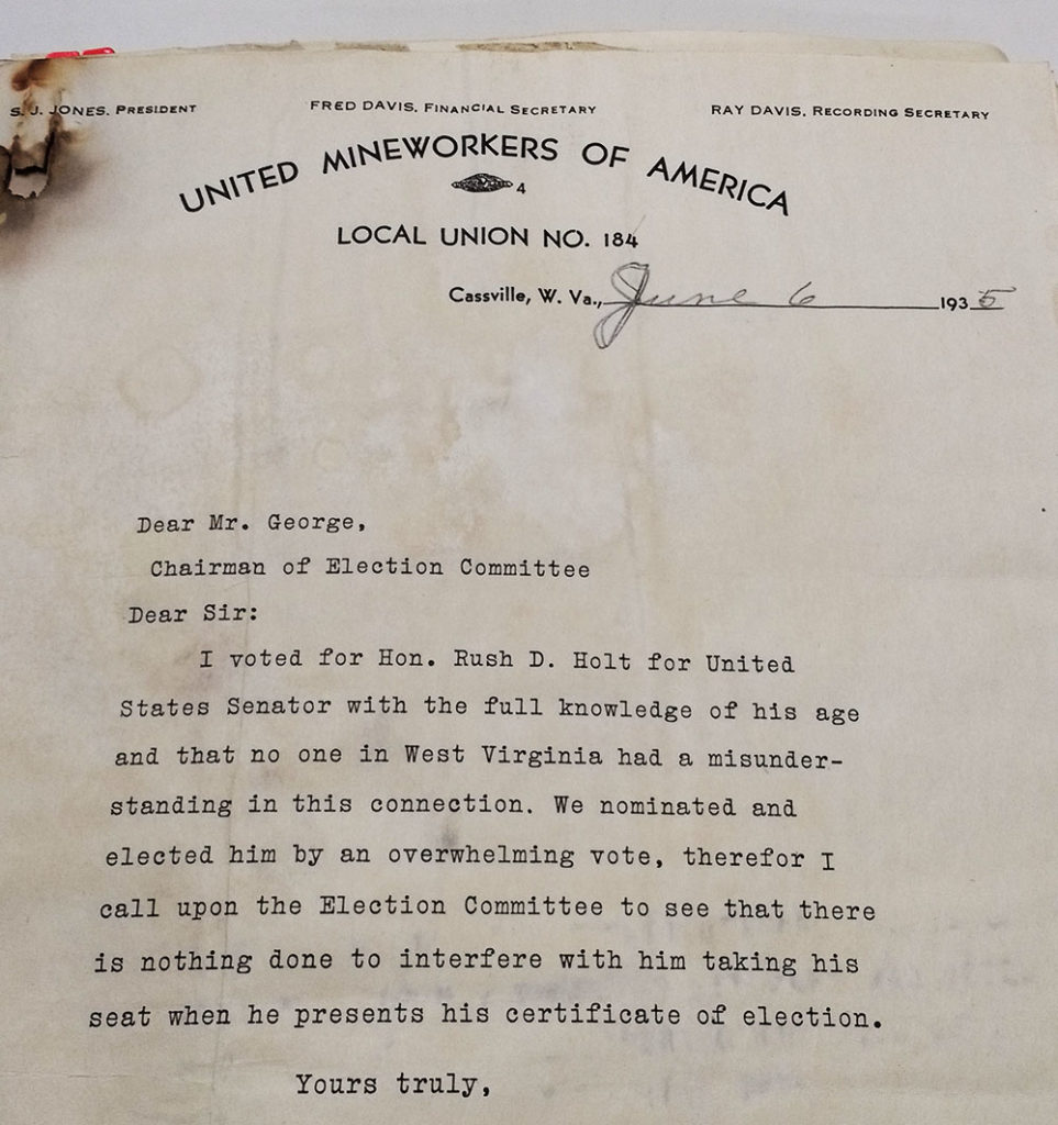Letter to Chair of Senate Election Committee, on United Mineworkers of America letterhead, asserting that the author meant to vote for Rush Dew Holt.