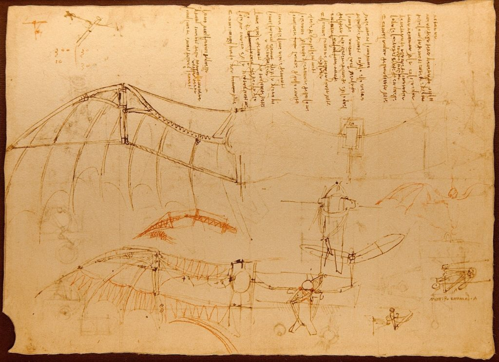 Page of Codice del Volo showing Leonardo da Vinci's drawing of a hang glider type wing