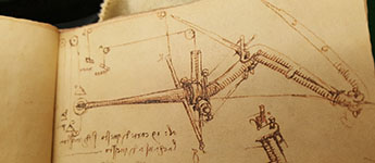 Leonardo da Vinci Notebooks and Mirror Writing: Two notebook replicas available to examine in the Rare Book Room