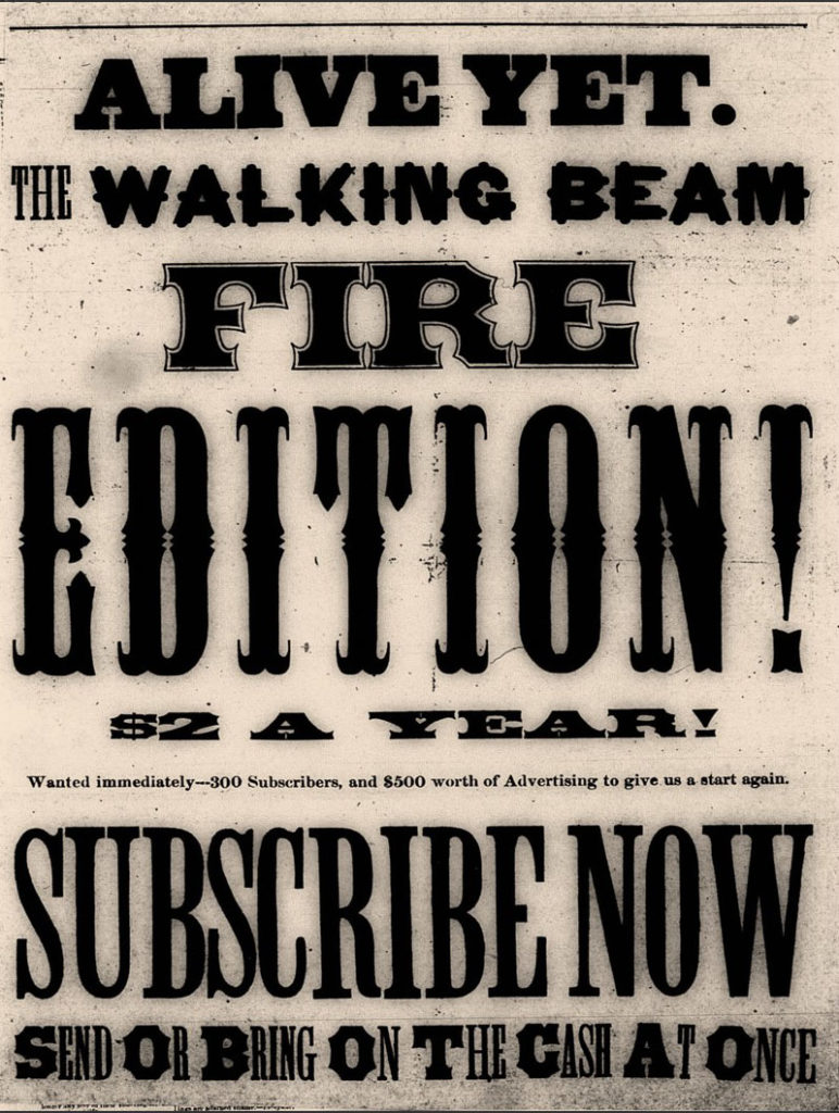 Newspaper clipping advertising the Walking Beam at $2 per year to keep the newspaper in business.