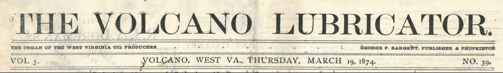 Clipping of the Volcano Lubricator newspaper masthead