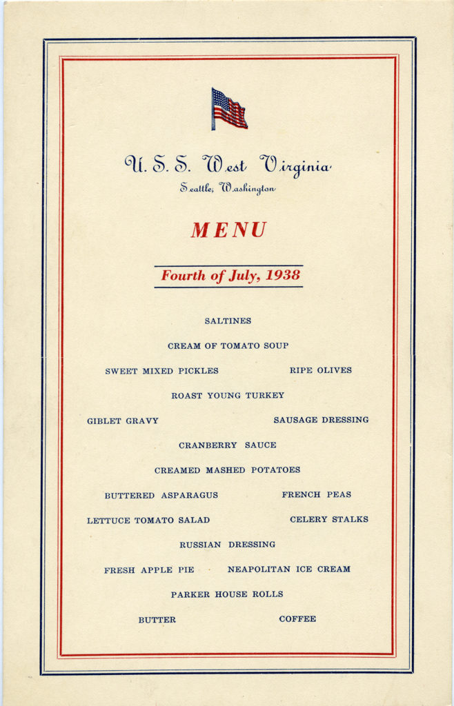 USS West Virginia Independence Day menu, July 4, 1938