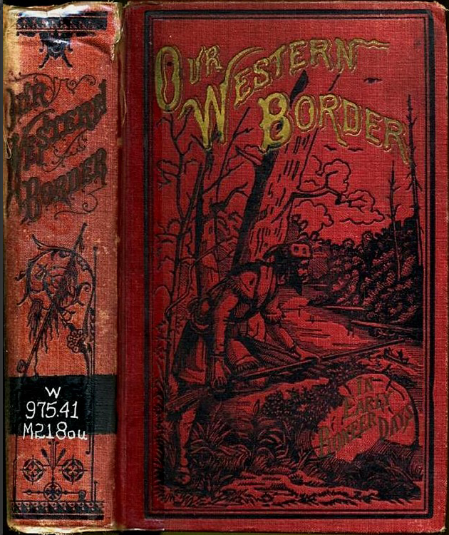 Cover of book Our Western Border showing a man holding a gun leaning out over a cliff
