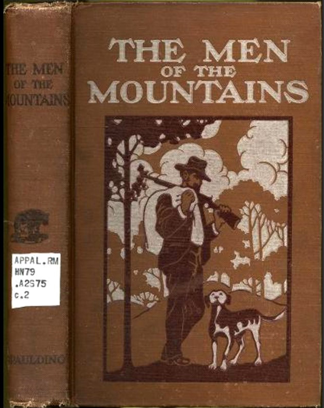 Cover of book The Men of the Mountains showing a man holding a gun and a sack, walking with a dog