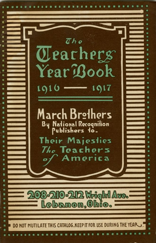 "Cover of supply catalog called ""The Teachers Year Book 1916-1917"" by the March Borthers"