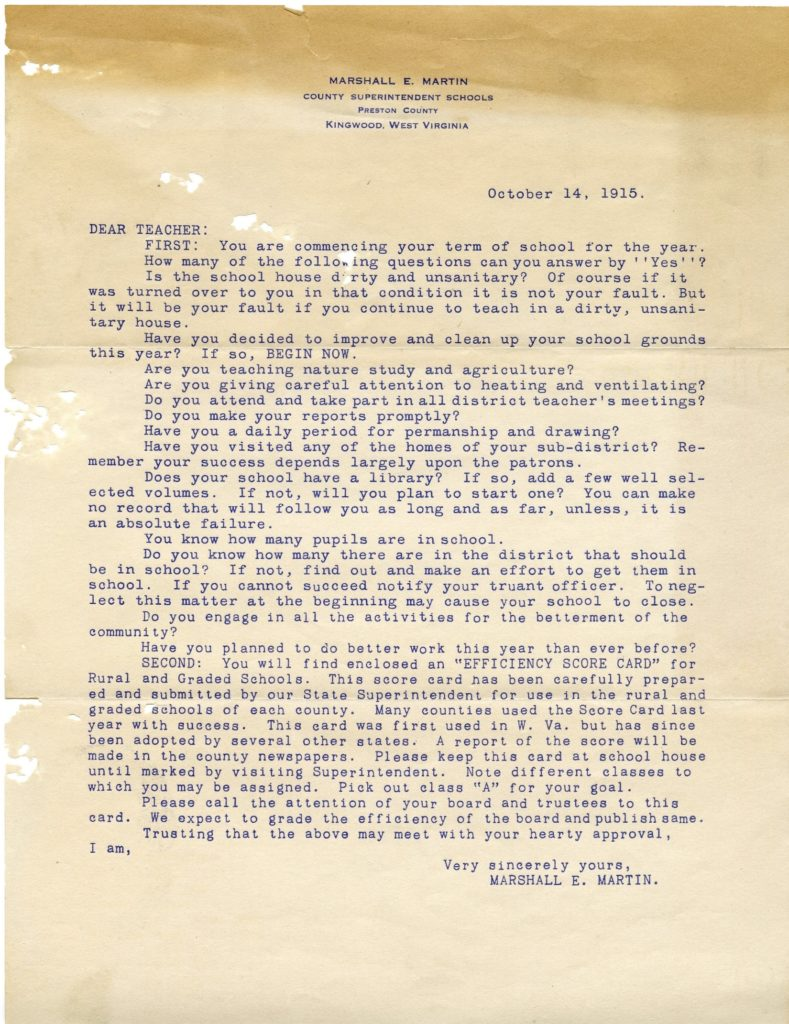 Letter from Preston County Superintendent, October 14, 1915