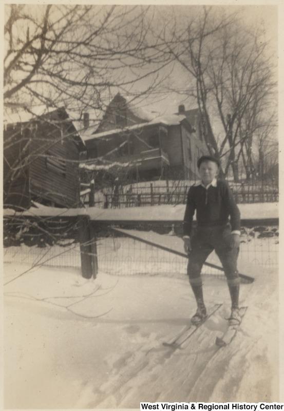 Boy skiing in Lewisburg, ca. 1935