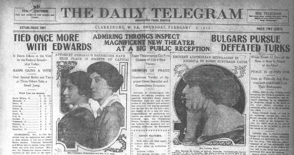 Snapshot of headlines on the Clarksburg Daily Telegram on Feb 6, 1913