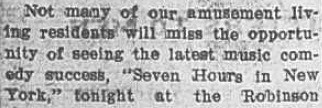 "First part of news clipping announcement of ""Seven Hours in New York"" 8 February 1913"