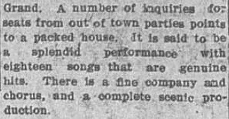 "Second part of news clipping announcement of ""Seven Hours in New York"" 8 February 1913"