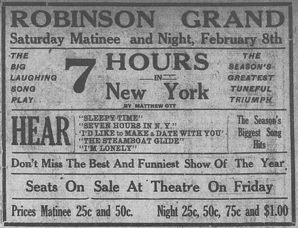 "Ad for ""Seven Hours in New York"" 8 February 1913"