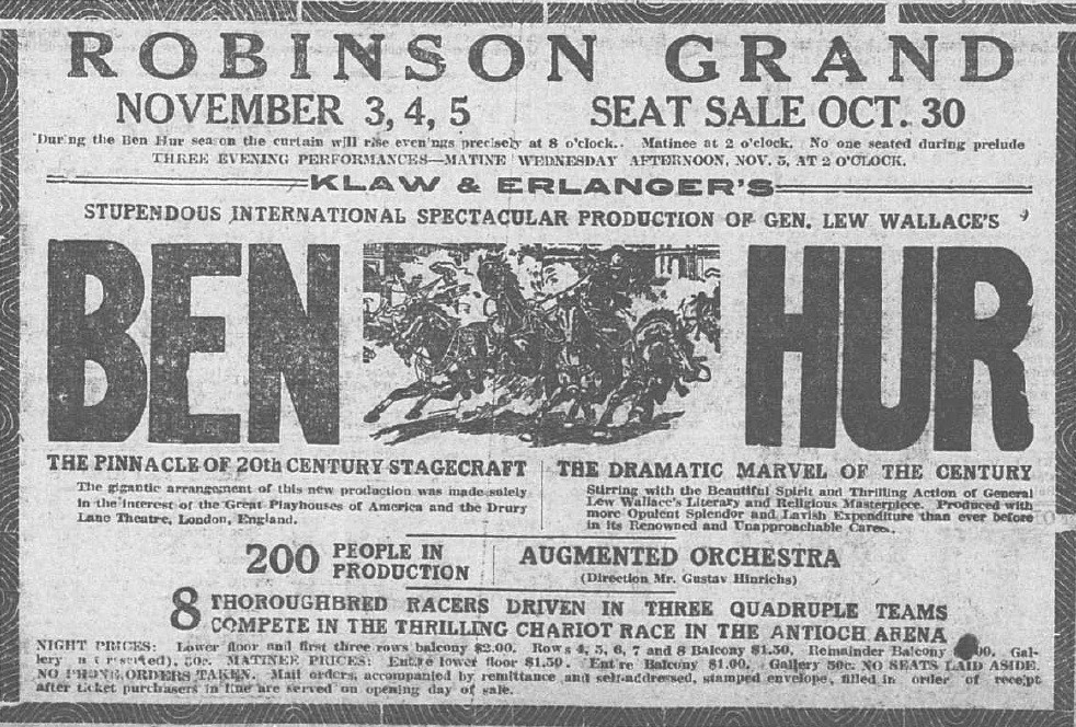 Newspaper ad for Ben Hur