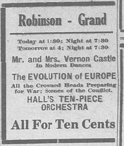 October 1914 announcement for motion pictures at the Robinson Grand, including one featuring Mr. and Mrs. Vernon Castle