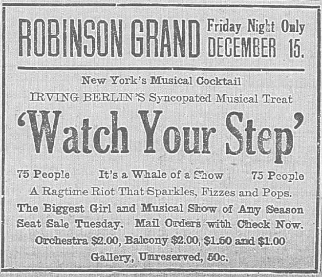 "Newspaper ad for ""Watch Your Step"" at the Robinson Grand"