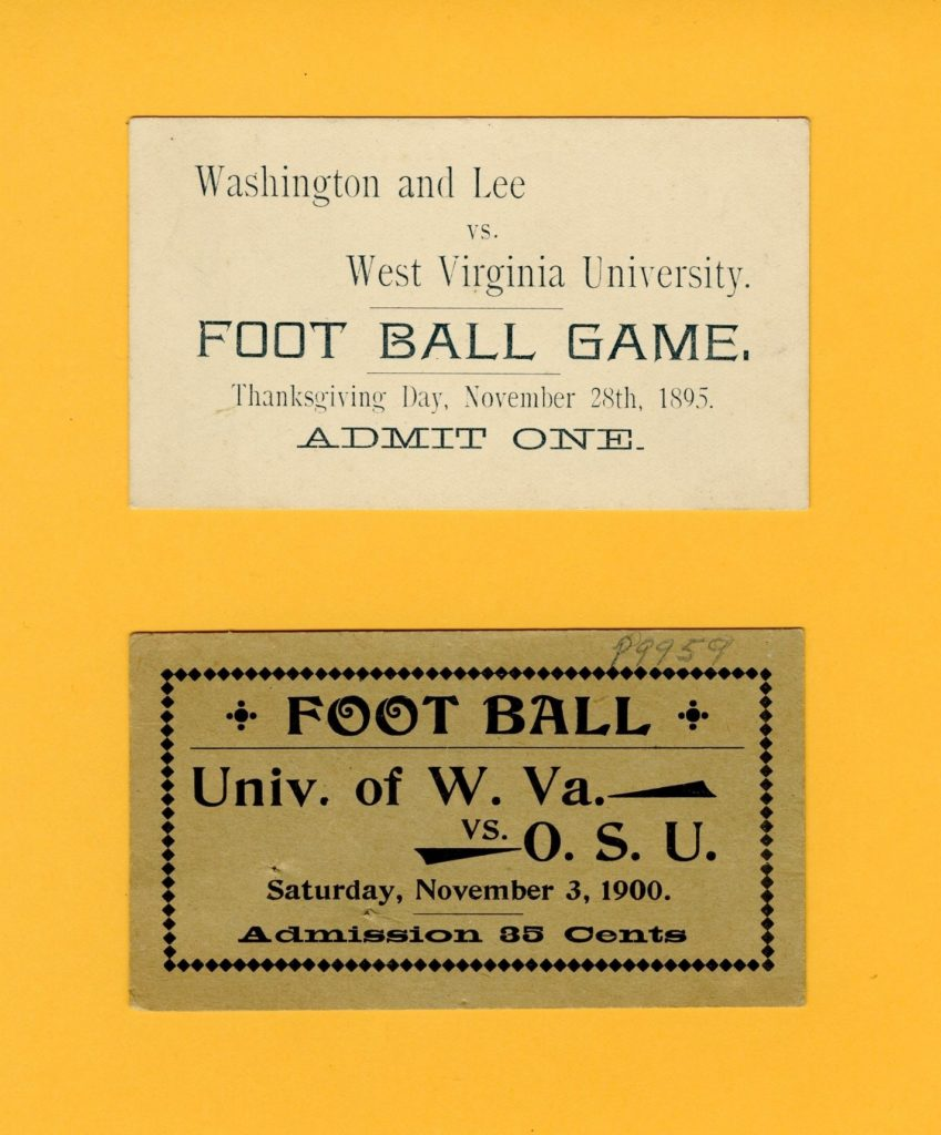 WVU football game tickets, 1895 and 1900