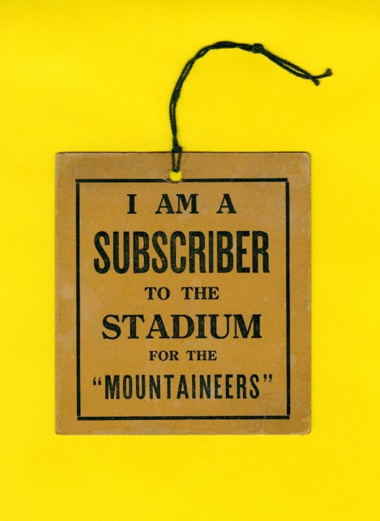 Booster card for construction of WVU's old Mountaineer Stadium below Woodburn Hall, 1924