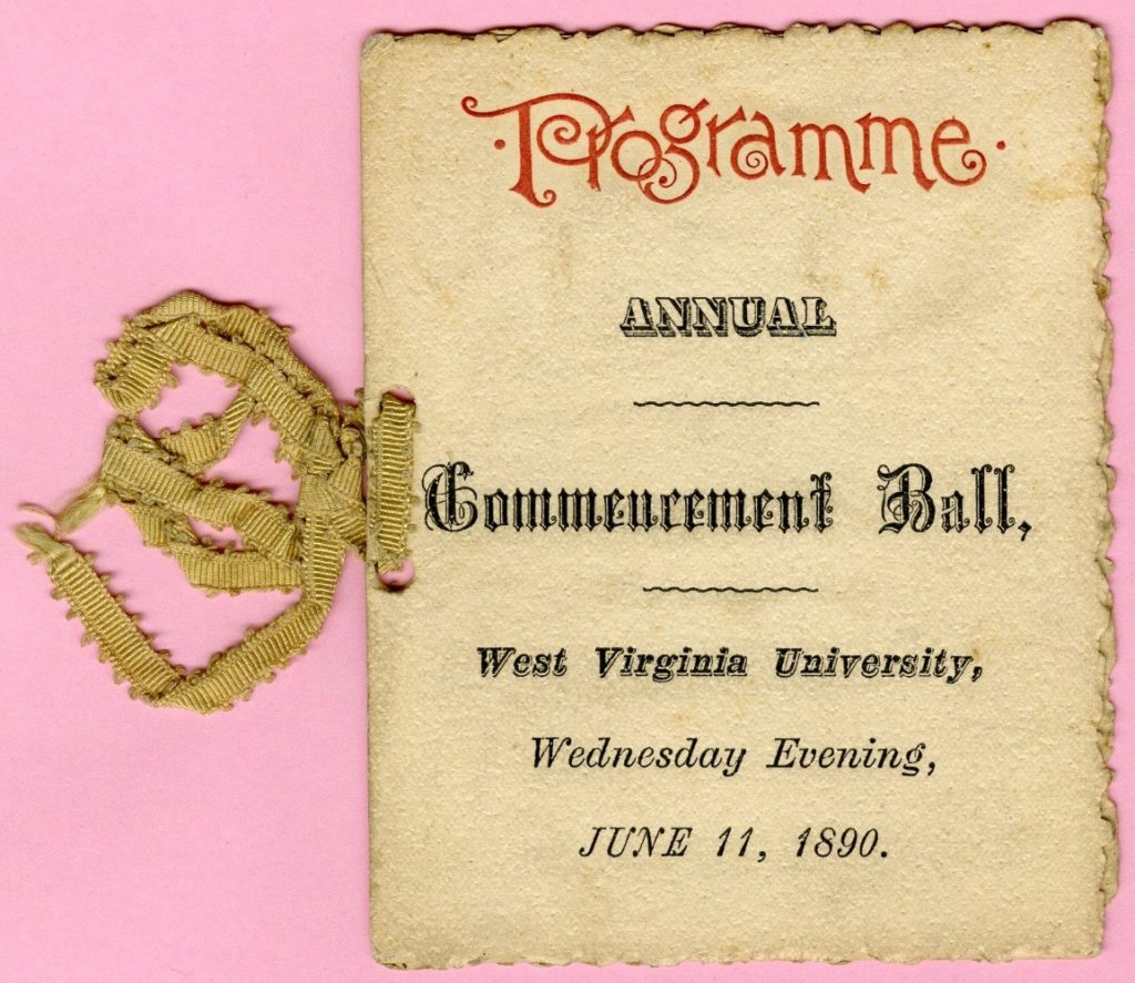 Dance card, WVU Commencement Ball, 1890