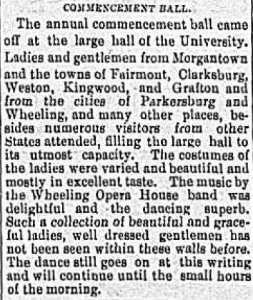 Clipping Report of WVU Commencement Ball, Wheeling Intelligencer