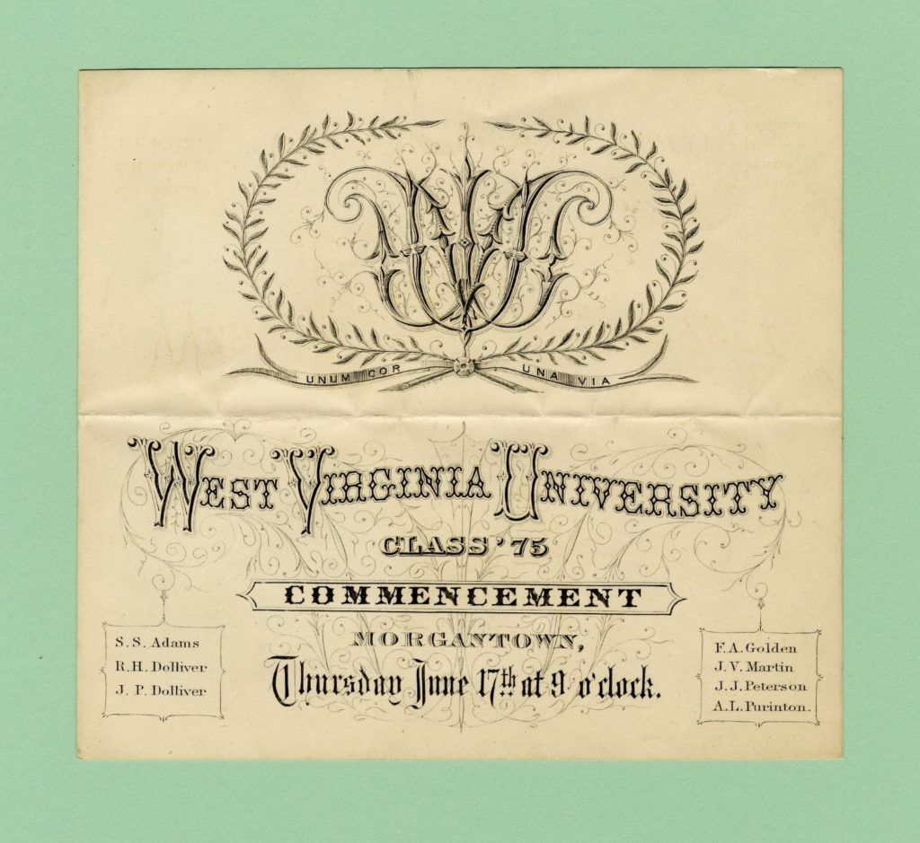 WVU commencement program, 1875