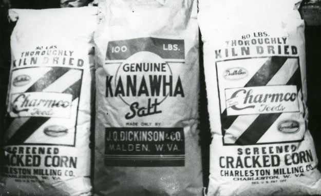 Bags of Charmco Feeds and Kanawha Salt