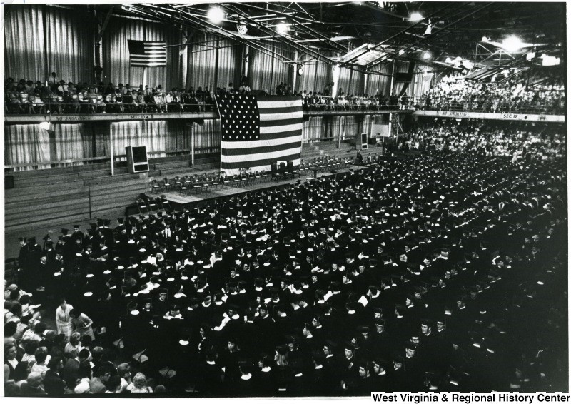 WVU Commencement Ceremony inside old Field House