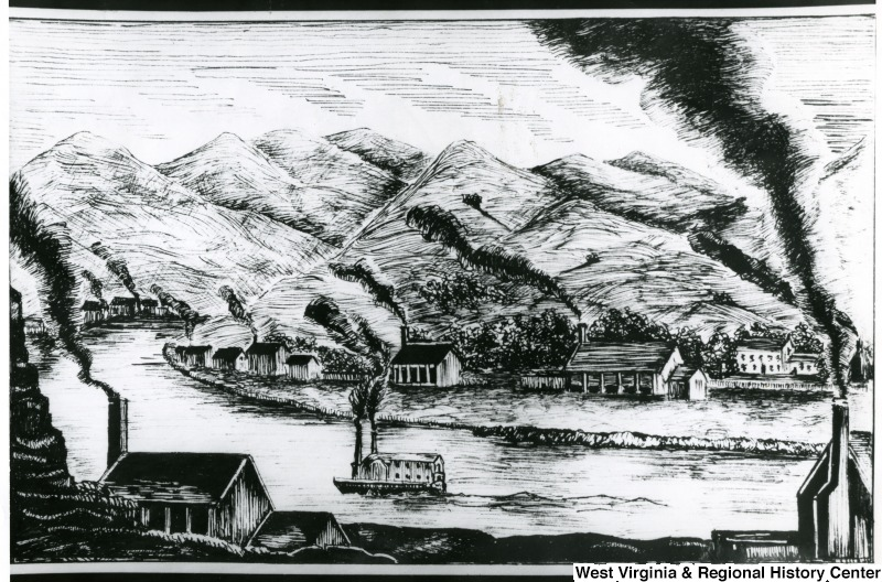 Drawing of Salt Works in Kanawha Valley
