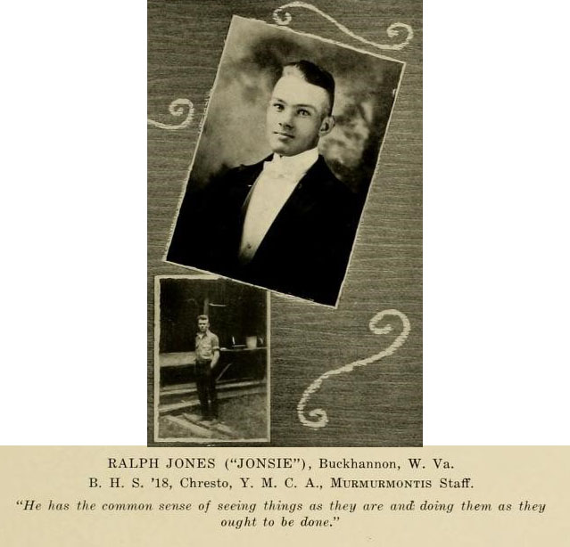 Ralph Jones image and blurb from Murmurmontis 1922