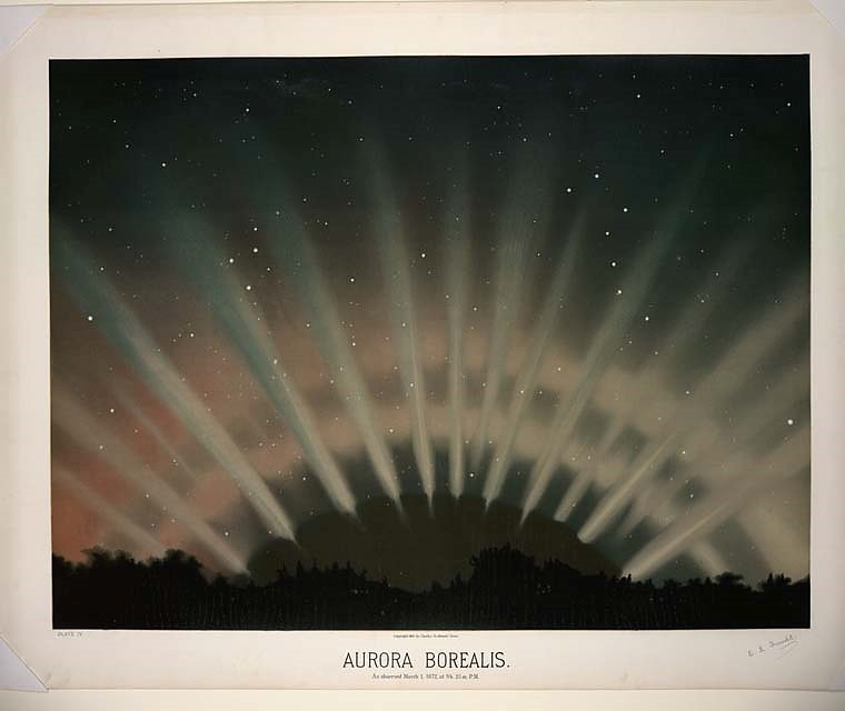 Colored book plate of the Aurora Borealis