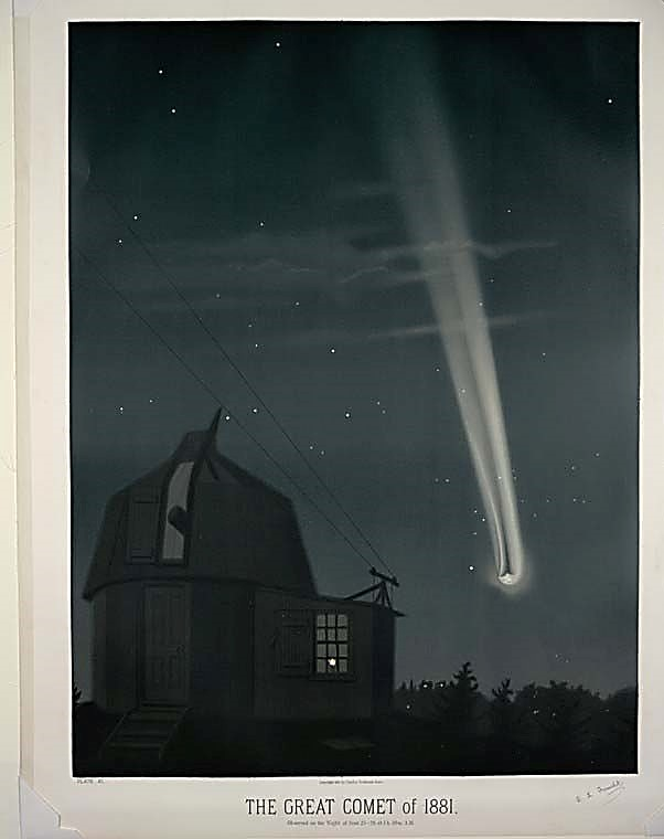 Colored book plate of the Great Comet of 1881