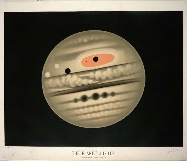 Colored book plate of the planet Jupiter
