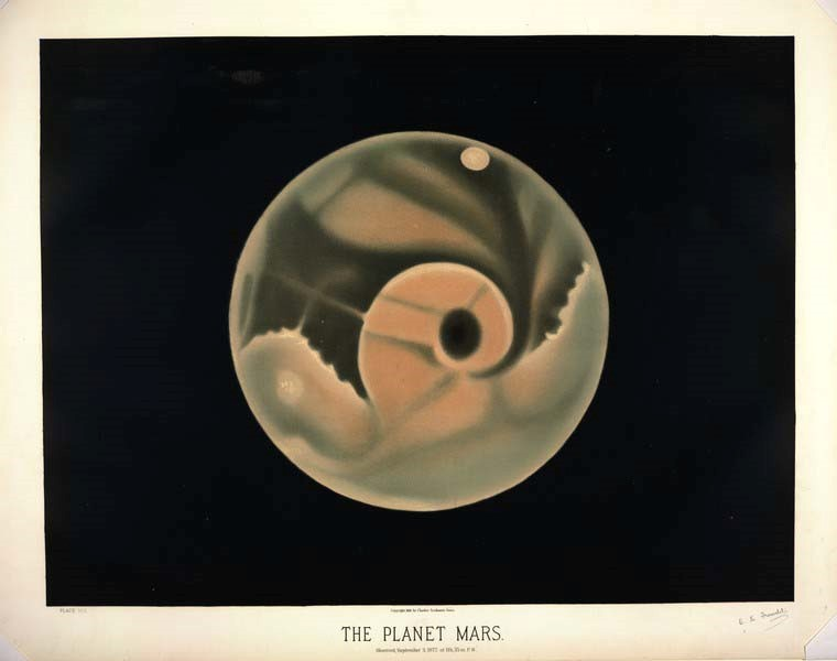 Colored book plate of the planet Mars